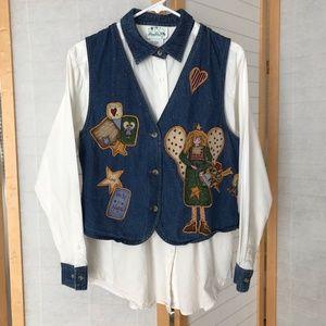 Sz S The Quacker factory Angel white blouse & Vest